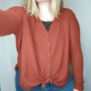 Out From Under OU Waffle Knit Button Up Flannel, S